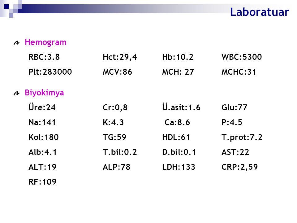 Laboratuar Hemogram RBC:3.8 Hct:29,4 Hb:10.2 WBC:5300 Plt:283000 MCV:86 MCH: 27 MCHC:31 Biyokimya Üre:24 Cr:0,8 Ü.asit:1.6 Glu:77 Na:141 K:4.3 Ca:8.6