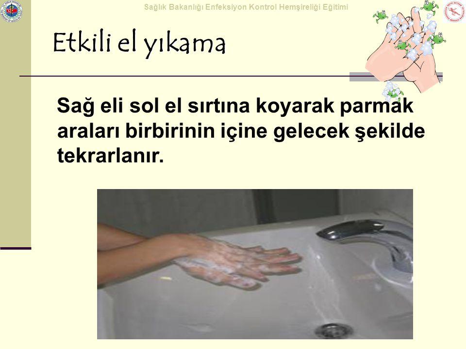 Sağlık Bakanlığı Enfeksiyon Kontrol Hemşireliği Eğitimi Etkili el yıkama Sağ eli sol el sırtına koyarak parmak araları birbirinin içine gelecek şekild