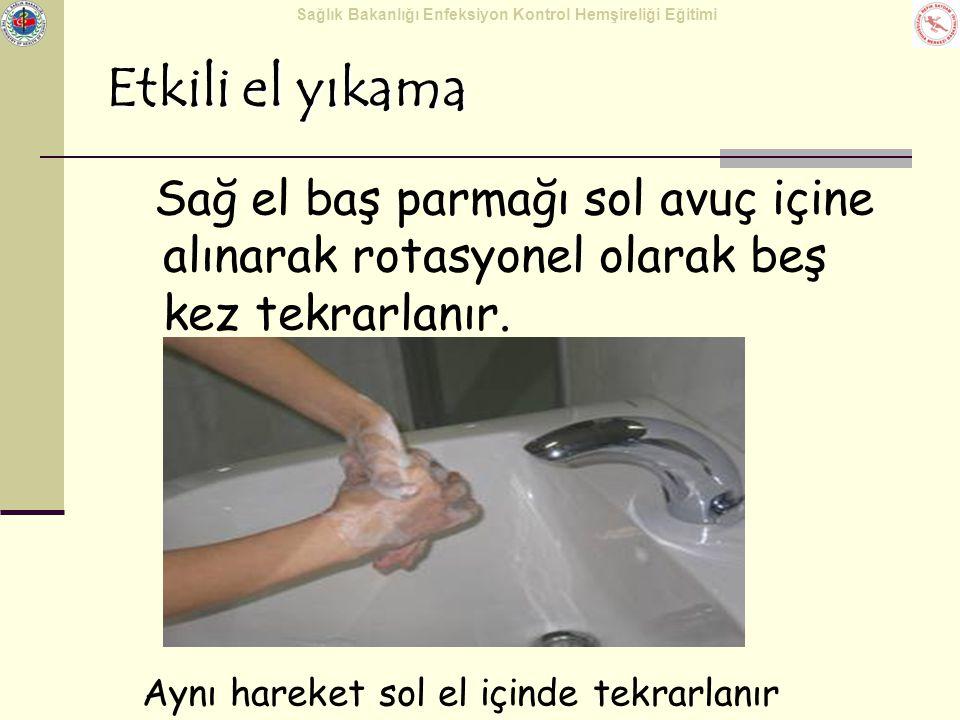 Sağlık Bakanlığı Enfeksiyon Kontrol Hemşireliği Eğitimi Etkili el yıkama Sağ el baş parmağı sol avuç içine alınarak rotasyonel olarak beş kez tekrarla