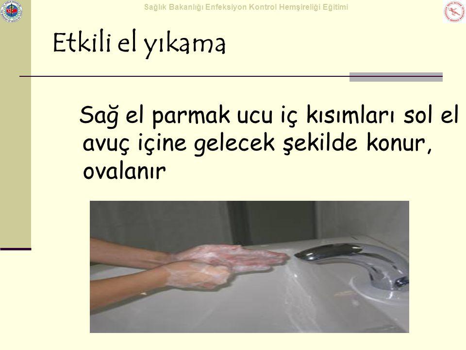 Sağlık Bakanlığı Enfeksiyon Kontrol Hemşireliği Eğitimi Etkili el yıkama Sağ el parmak ucu iç kısımları sol el avuç içine gelecek şekilde konur, ovala