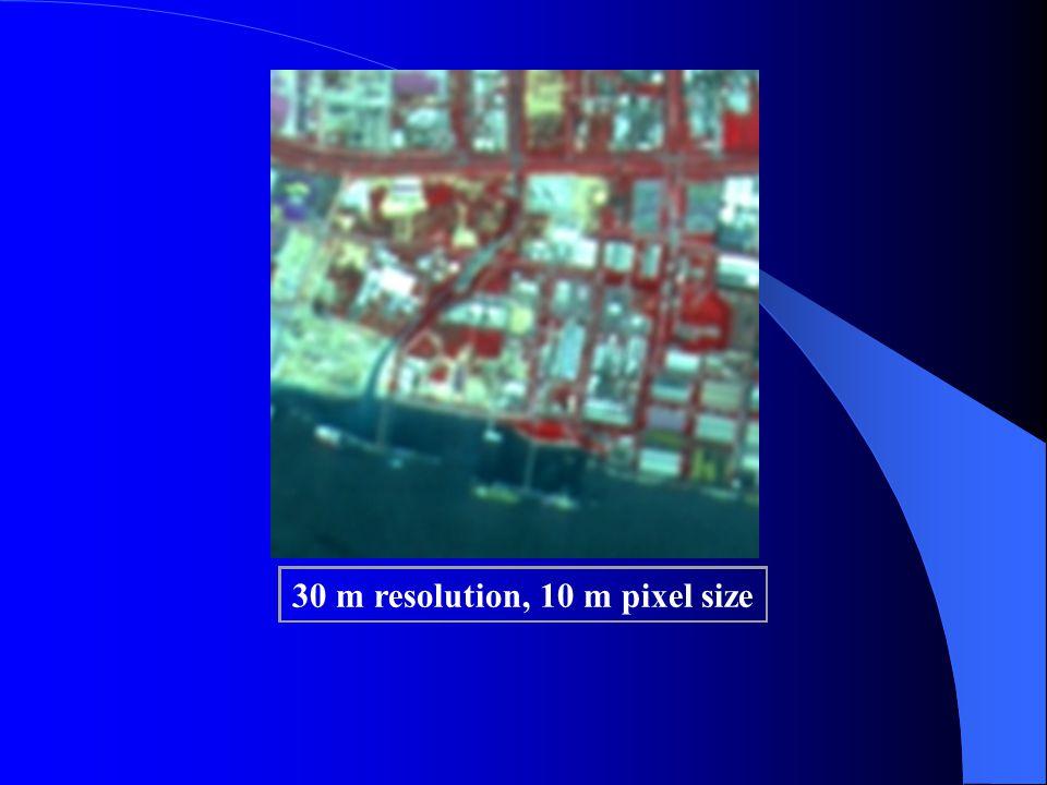30 m resolution, 10 m pixel size