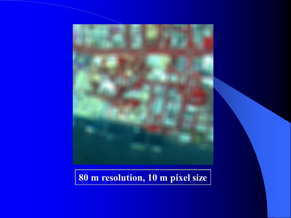 80 m resolution, 10 m pixel size