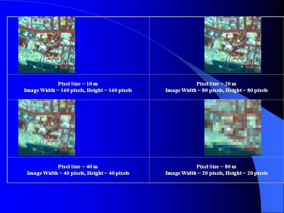 Pixel Size = 10 m Image Width = 160 pixels, Height = 160 pixels Pixel Size = 20 m Image Width = 80 pixels, Height = 80 pixels Pixel Size = 40 m Image