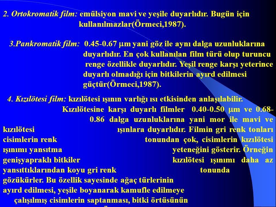 2. Ortokromatik film: emülsiyon mavi ve yeşile duyarlıdır. Bugün için kullanılmazlar(Örmeci,1987). 3.Pankromatik film: 0.45-0.67  m yani göz ile aynı