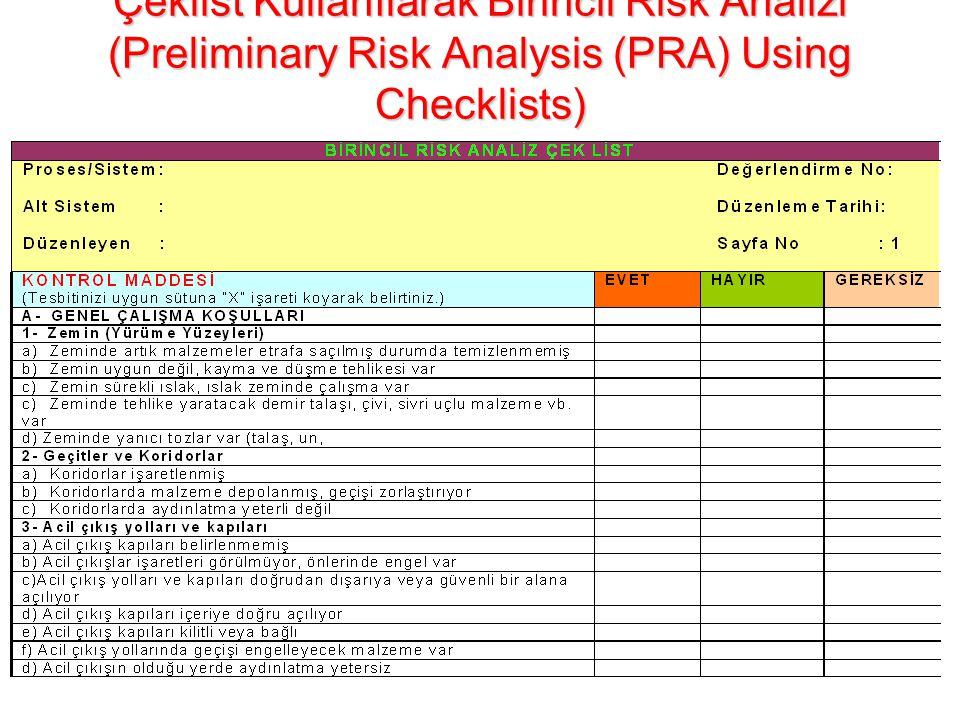 Çeklist Kullanılarak Birincil Risk Analizi (Preliminary Risk Analysis (PRA) Using Checklists) Bir tesisin veya prosesin tüm donanımının ve aletlerinin tam olup olmadığını veya kusursuz işleyip işlemediğini saptar.