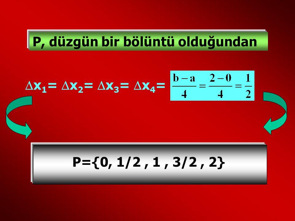  x 1 =  x 2 =  x 3 = x4=x4= P={0, 1/2, 1, 3/2, 2} P, düzgün bir bölüntü olduğundan