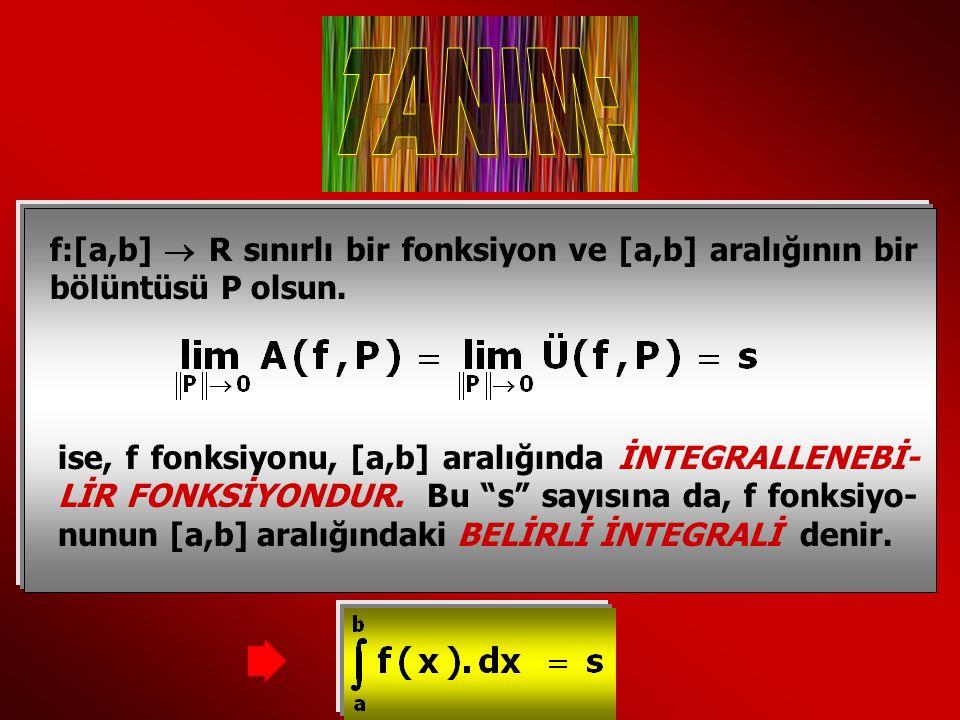 f:[a,b]  R sınırlı bir fonksiyon ve [a,b] aralığının bir bölüntüsü P olsun. ise, f fonksiyonu, [a,b] aralığında İNTEGRALLENEBİ- LİR FONKSİYONDUR. Bu