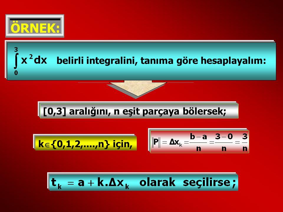 ÖRNEK: belirli integralini, tanıma göre hesaplayalım: [0,3] aralığını, n eşit parçaya bölersek; k  {0,1,2,....,n} için,