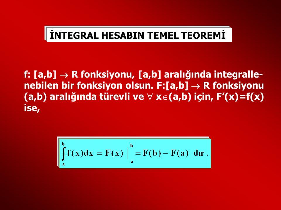 İNTEGRAL HESABIN TEMEL TEOREMİ f: [a,b]  R fonksiyonu, [a,b] aralığında integralle- nebilen bir fonksiyon olsun. F:[a,b]  R fonksiyonu (a,b) aralığı