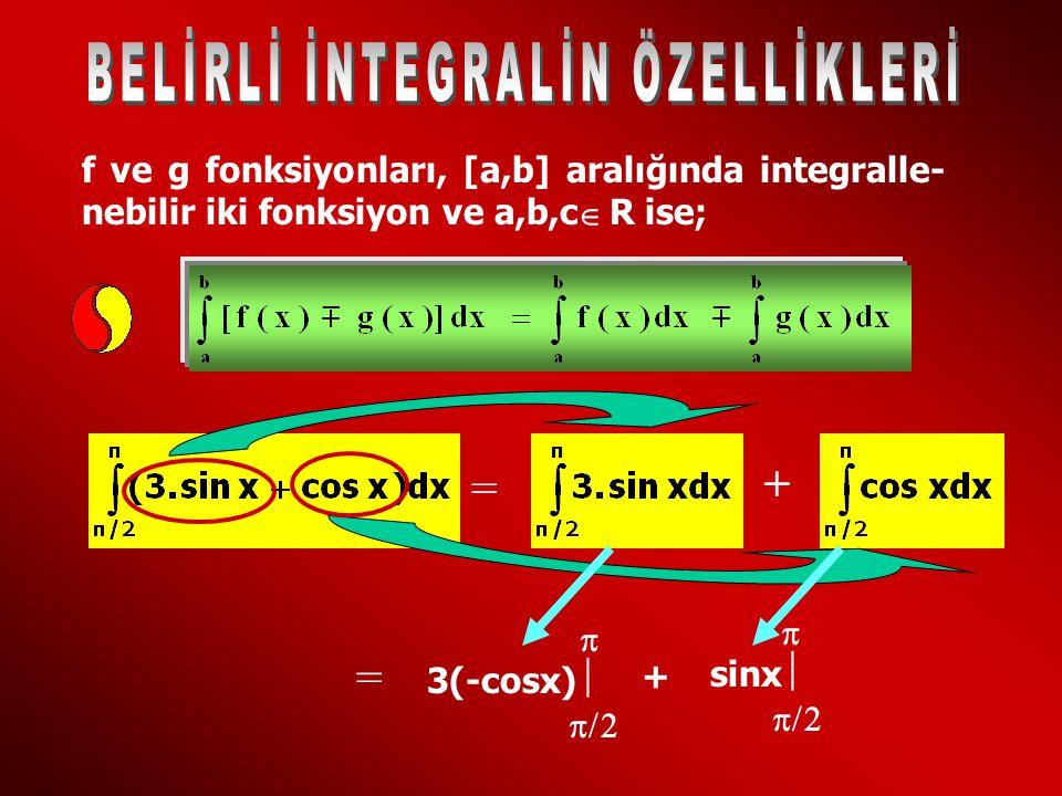 f ve g fonksiyonları, [a,b] aralığında integralle- nebilir iki fonksiyon ve a,b,c R ise;  = + = 3(-cosx)    + sinx   