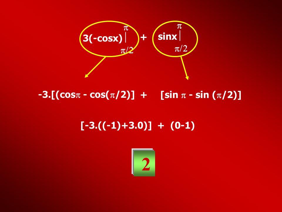 3(-cosx)    + sinx    -3.[(cos  - cos(  /2)] + [sin  - sin (  /2)] [-3.((-1)+3.0)] + (0-1) 2