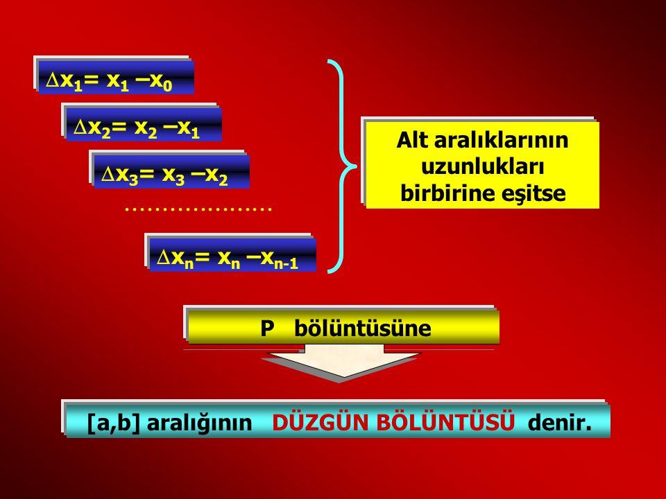  x 1 = x1 x1 –x 0  x 2 = x2 x2 –x 1  x 3 = x3 x3 –x 2  x n = xn xn –x n-1.................... Alt aralıklarının uzunlukları birbirine eşitse P böl