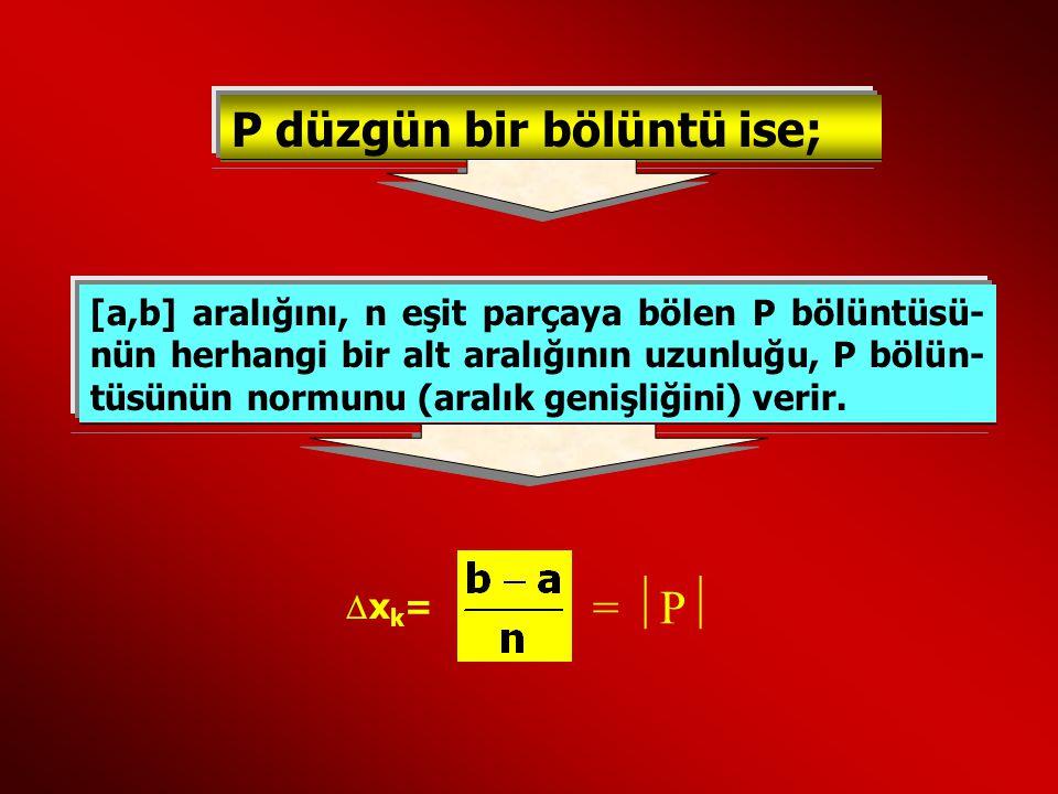 P düzgün bir bölüntü ise; [a,b] aralığını, n eşit parçaya bölen P bölüntüsü- nün herhangi bir alt aralığının uzunluğu, P bölün- tüsünün normunu (aralı