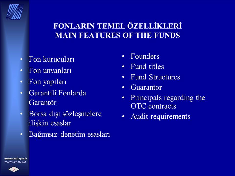 5 www.cmb.gov.tr www.spk.gov.tr www.spk.gov.tr FONLARIN TEMEL ÖZELLİKLERİ MAIN FEATURES OF THE FUNDS Fon kurucuları Fon unvanları Fon yapıları Garantili Fonlarda Garantör Borsa dışı sözleşmelere ilişkin esaslar Bağımsız denetim esasları Founders Fund titles Fund Structures Guarantor Principals regarding the OTC contracts Audit requirements