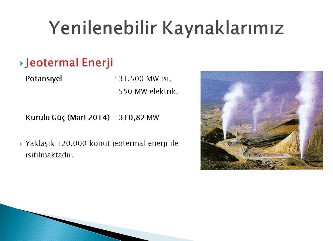 Yenilenebilir Kaynaklarımız  Jeotermal Enerji Potansiyel: 31.500 MW ısı, : 550 MW elektrik, Kurulu Güç (Mart 2014): 310,82 MW  Yaklaşık 120.000 konut jeotermal enerji ile ısıtılmaktadır.