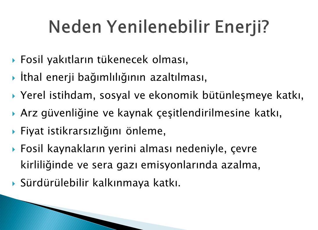 Yenilenebilir Enerji Kaynaklarının Desteklenmesi  Yenilenebilir enerji kaynaklarının teşviki ve bu konudaki düzenlendirmelerdeki yetersizliği gidermek için 18.5.2005 tarihli ve 25819 sayılı Resmi Gazetede yayımlanan 5346 sayılı Yenilenebilir Enerji Kaynaklarının Elektrik Enerjisi Üretimi Amaçlı Kullanımına İlişkin Kanunu çıkarılmıştır.