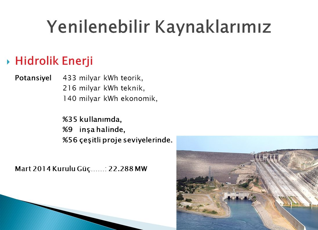 Yenilenebilir Kaynaklarımız  Hidrolik Enerji Potansiyel433 milyar kWh teorik, 216 milyar kWh teknik, 140 milyar kWh ekonomik, %35 kullanımda, %9 inşa halinde, %56 çeşitli proje seviyelerinde.