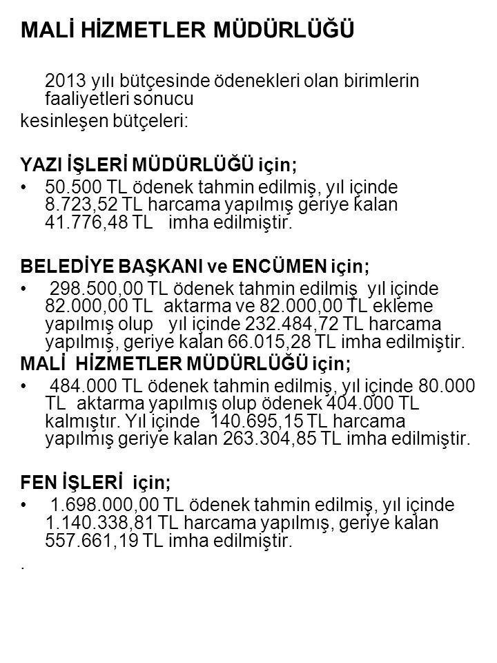 MALİ HİZMETLER MÜDÜRLÜĞÜ 2013 yılı bütçesinde ödenekleri olan birimlerin faaliyetleri sonucu kesinleşen bütçeleri: YAZI İŞLERİ MÜDÜRLÜĞÜ için; 50.500