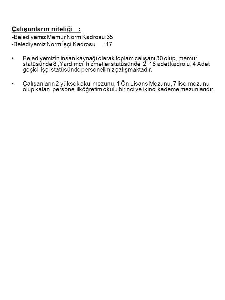 Çalışanların niteliği : - Belediyemiz Memur Norm Kadrosu:35 -Belediyemiz Norm İşçi Kadrosu :17 Belediyemizin insan kaynağı olarak toplam çalışanı 30 o