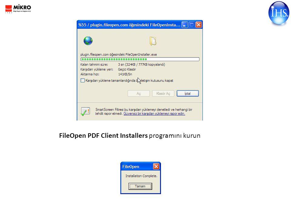 FileOpen PDF Client Installers programını kurun