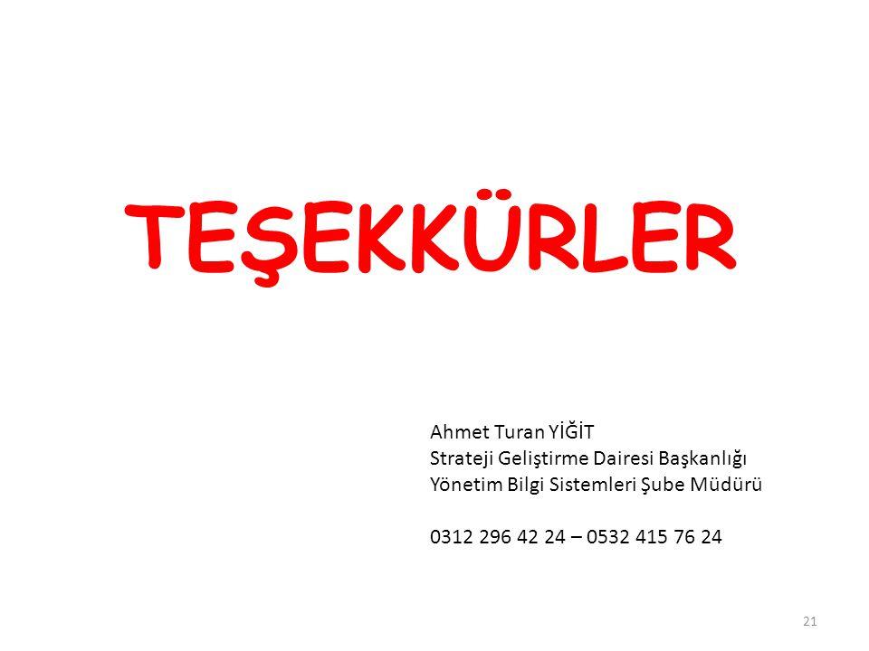 TEŞEKKÜRLER Ahmet Turan YİĞİT Strateji Geliştirme Dairesi Başkanlığı Yönetim Bilgi Sistemleri Şube Müdürü 0312 296 42 24 – 0532 415 76 24 21