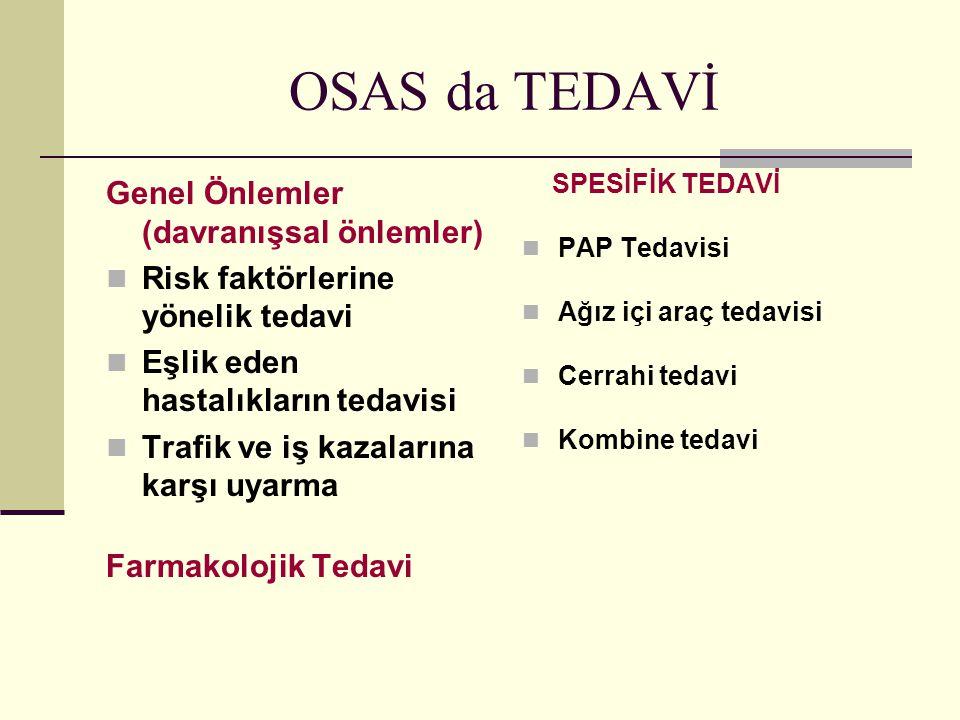 OSAS da TEDAVİ Genel Önlemler (davranışsal önlemler) Risk faktörlerine yönelik tedavi Eşlik eden hastalıkların tedavisi Trafik ve iş kazalarına karşı