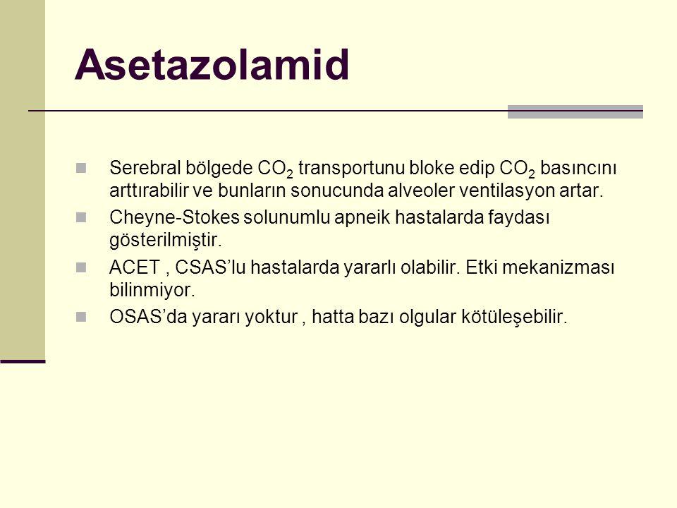 Asetazolamid Serebral bölgede CO 2 transportunu bloke edip CO 2 basıncını arttırabilir ve bunların sonucunda alveoler ventilasyon artar. Cheyne-Stokes