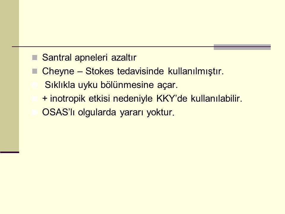 Santral apneleri azaltır Cheyne – Stokes tedavisinde kullanılmıştır. Sıklıkla uyku bölünmesine açar. + inotropik etkisi nedeniyle KKY'de kullanılabili