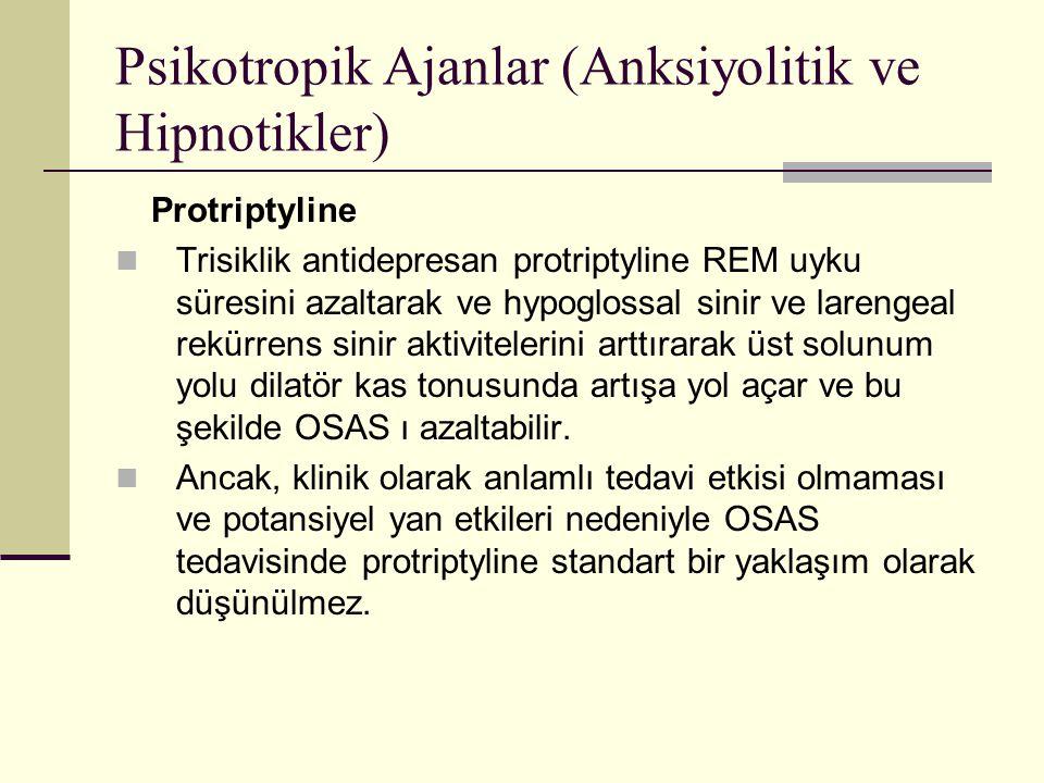 Psikotropik Ajanlar (Anksiyolitik ve Hipnotikler) Protriptyline Trisiklik antidepresan protriptyline REM uyku süresini azaltarak ve hypoglossal sinir
