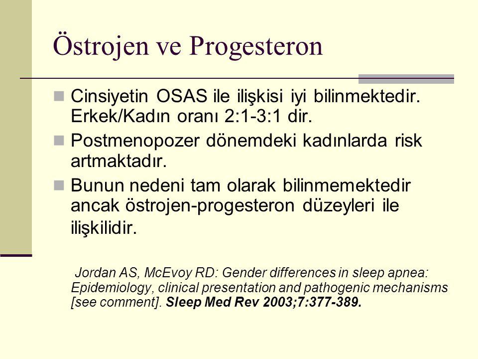 Östrojen ve Progesteron Cinsiyetin OSAS ile ilişkisi iyi bilinmektedir. Erkek/Kadın oranı 2:1-3:1 dir. Postmenopozer dönemdeki kadınlarda risk artmakt