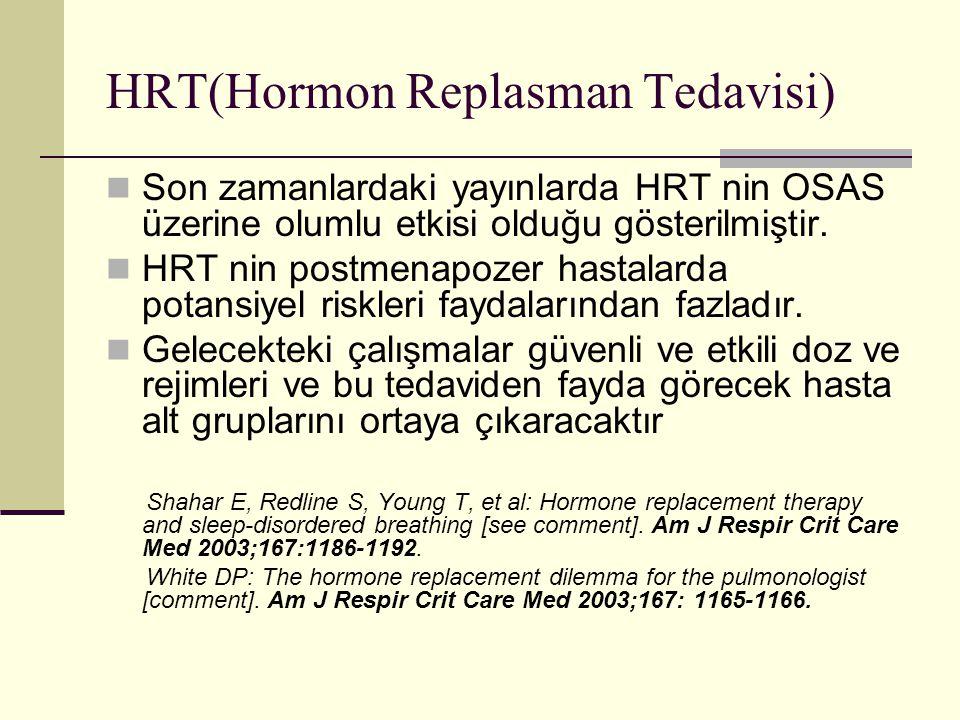 HRT(Hormon Replasman Tedavisi) Son zamanlardaki yayınlarda HRT nin OSAS üzerine olumlu etkisi olduğu gösterilmiştir. HRT nin postmenapozer hastalarda
