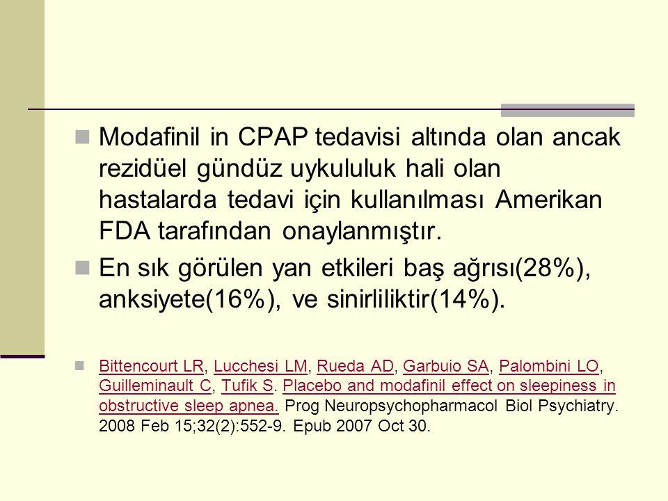 Modafinil in CPAP tedavisi altında olan ancak rezidüel gündüz uykululuk hali olan hastalarda tedavi için kullanılması Amerikan FDA tarafından onaylanm