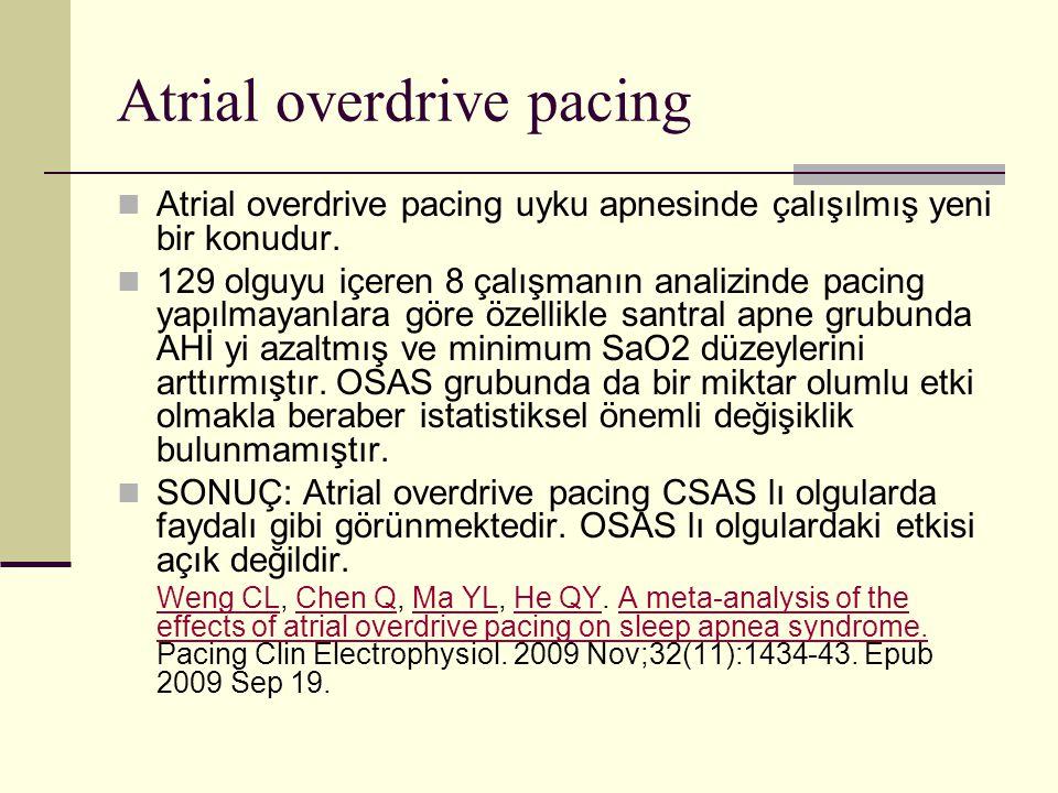 Atrial overdrive pacing Atrial overdrive pacing uyku apnesinde çalışılmış yeni bir konudur. 129 olguyu içeren 8 çalışmanın analizinde pacing yapılmaya