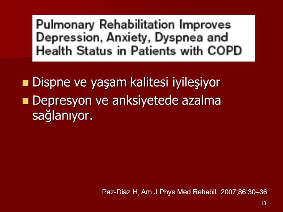 13 Dispne ve yaşam kalitesi iyileşiyor Dispne ve yaşam kalitesi iyileşiyor Depresyon ve anksiyetede azalma sağlanıyor.