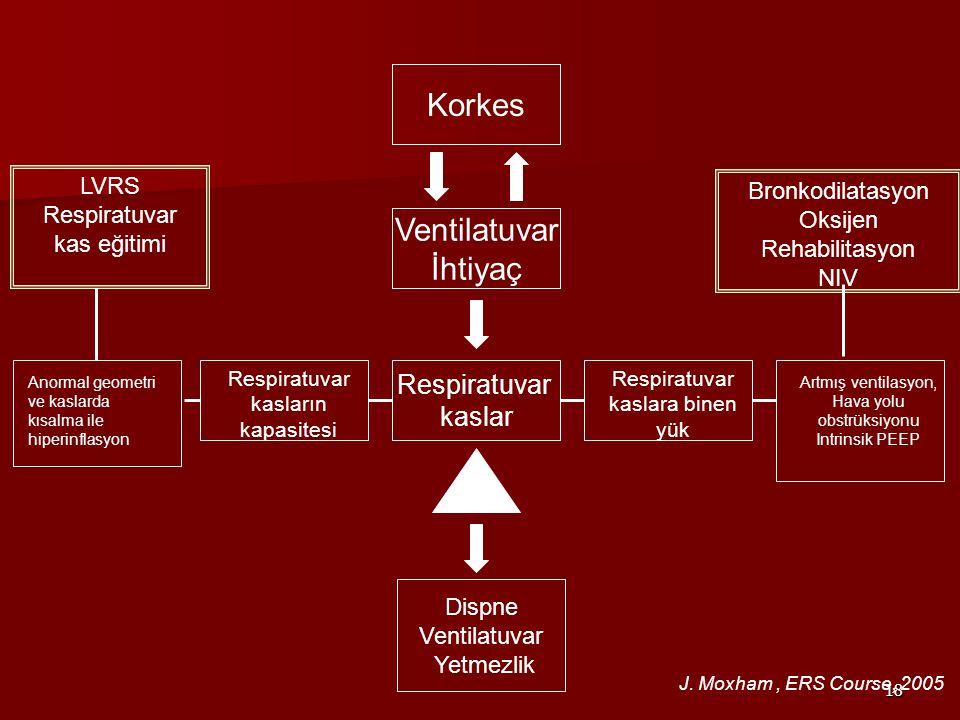 18 Respiratuvar kaslar Respiratuvar kaslara binen yük Artmış ventilasyon, Hava yolu obstrüksiyonu Intrinsik PEEP Ventilatuvar İhtiyaç Korkes Dispne Ventilatuvar Yetmezlik Respiratuvar kasların kapasitesi Anormal geometri ve kaslarda kısalma ile hiperinflasyon LVRS Respiratuvar kas eğitimi Bronkodilatasyon Oksijen Rehabilitasyon NIV J.