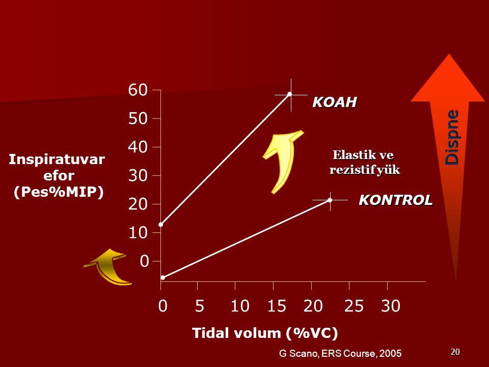 20 60 50 40 30 10 20 0 0 53010152025 Inspiratuvar efor (Pes%MIP) Tidal volum (%VC) KOAH KONTROL Elastik ve rezistif yük Dispne G Scano, ERS Course, 2005