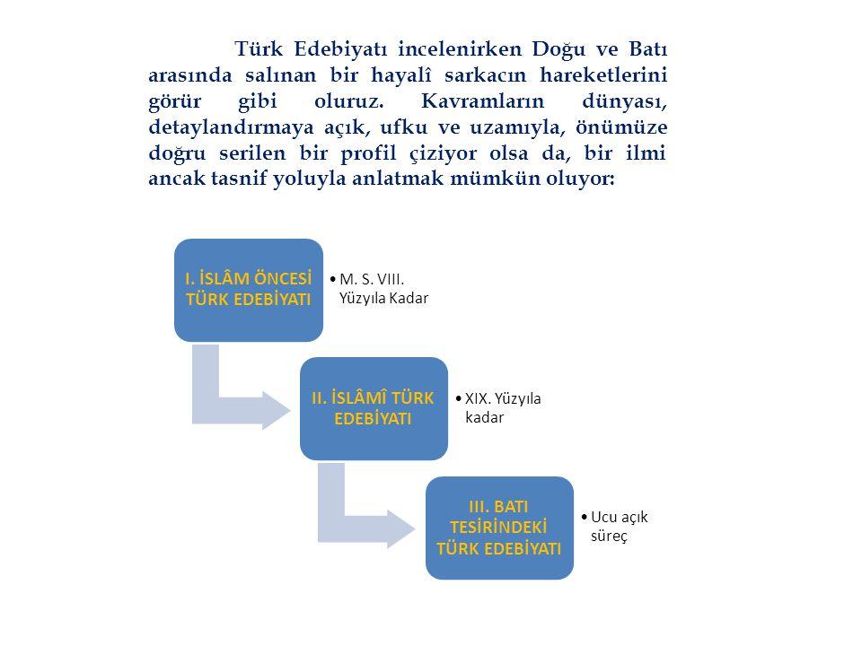 Türk Edebiyatı incelenirken Doğu ve Batı arasında salınan bir hayalî sarkacın hareketlerini görür gibi oluruz. Kavramların dünyası, detaylandırmaya aç
