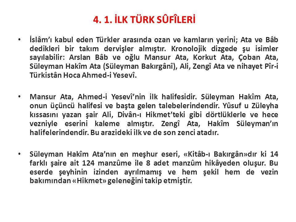 İslâm'ı kabul eden Türkler arasında ozan ve kamların yerini; Ata ve Bâb dedikleri bir takım dervişler almıştır. Kronolojik dizgede şu isimler sayılabi