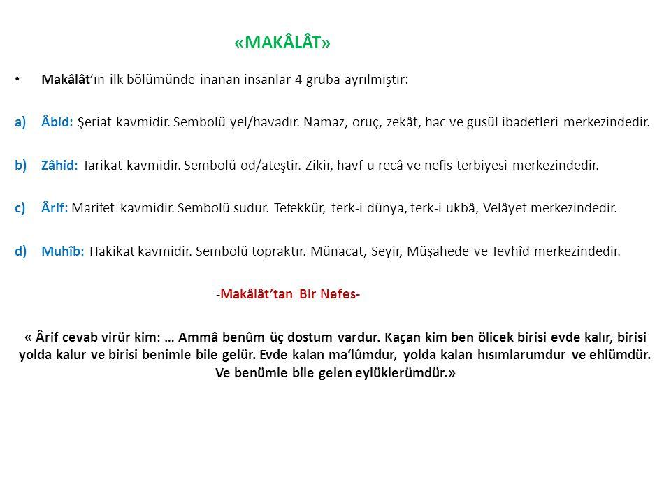 Makâlât'ın ilk bölümünde inanan insanlar 4 gruba ayrılmıştır: a)Âbid: Şeriat kavmidir. Sembolü yel/havadır. Namaz, oruç, zekât, hac ve gusül ibadetler