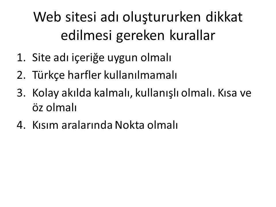 Web sitesi adı oluştururken dikkat edilmesi gereken kurallar 1.Site adı içeriğe uygun olmalı 2.Türkçe harfler kullanılmamalı 3.Kolay akılda kalmalı, k
