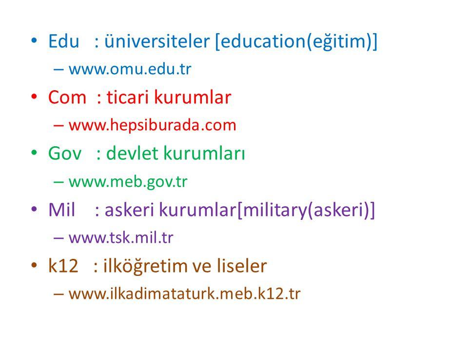 Edu : üniversiteler [education(eğitim)] – www.omu.edu.tr Com : ticari kurumlar – www.hepsiburada.com Gov : devlet kurumları – www.meb.gov.tr Mil : ask