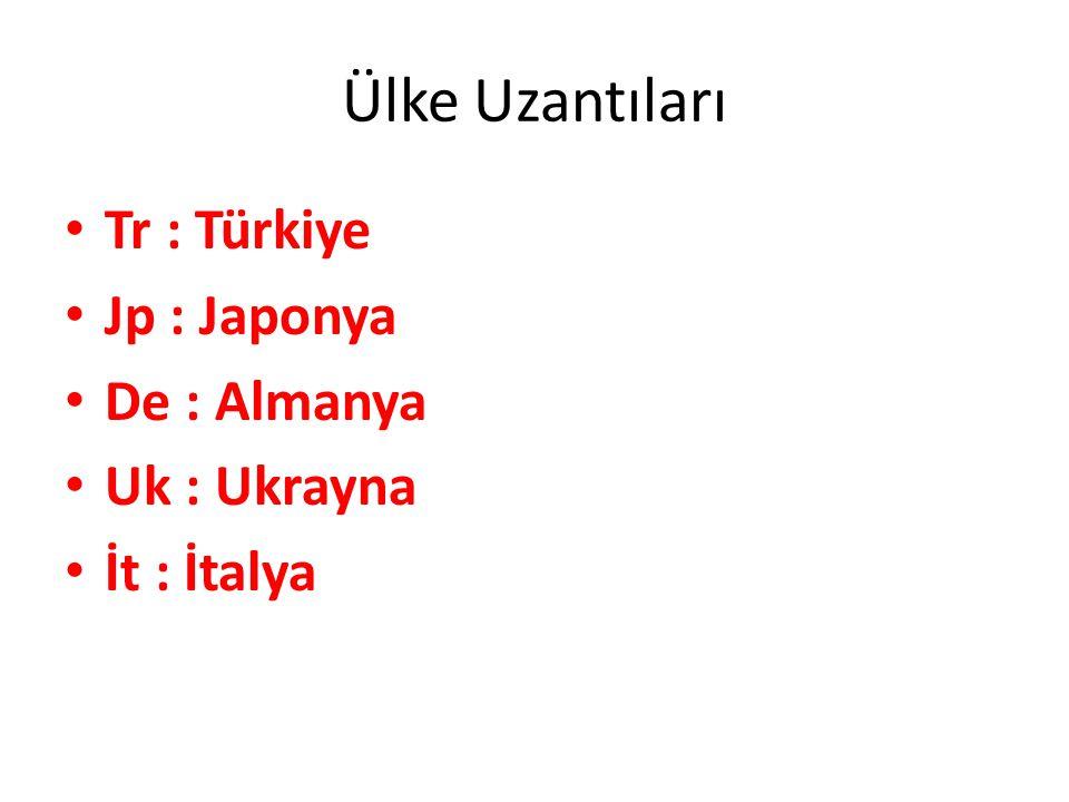 Ülke Uzantıları Tr : Türkiye Jp : Japonya De : Almanya Uk : Ukrayna İt : İtalya