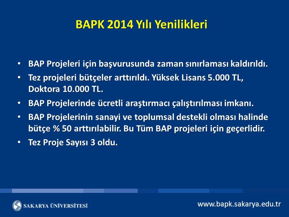 www.bapk.sakarya.edu.tr BAPK 2014 Yılı Yenilikleri BAP Projeleri için başvurusunda zaman sınırlaması kaldırıldı. BAP Projeleri için başvurusunda zaman