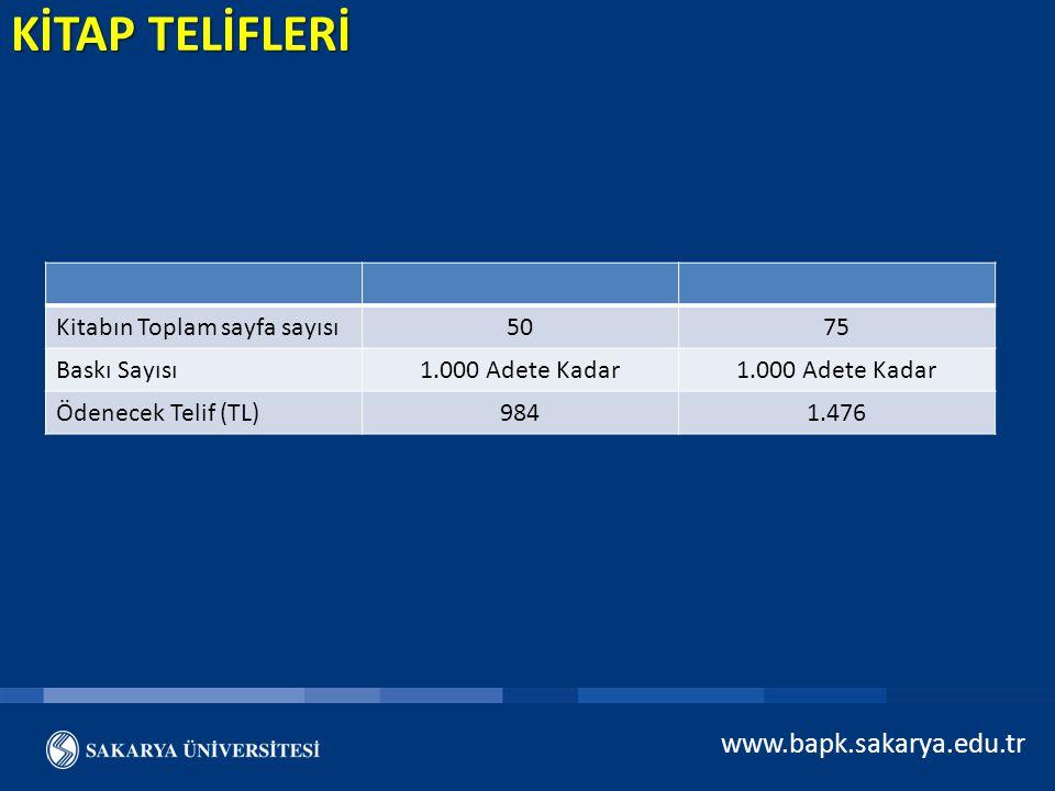 Kitabın Toplam sayfa sayısı5075 Baskı Sayısı1.000 Adete Kadar Ödenecek Telif (TL)9841.476 www.bapk.sakarya.edu.tr KİTAP TELİFLERİ