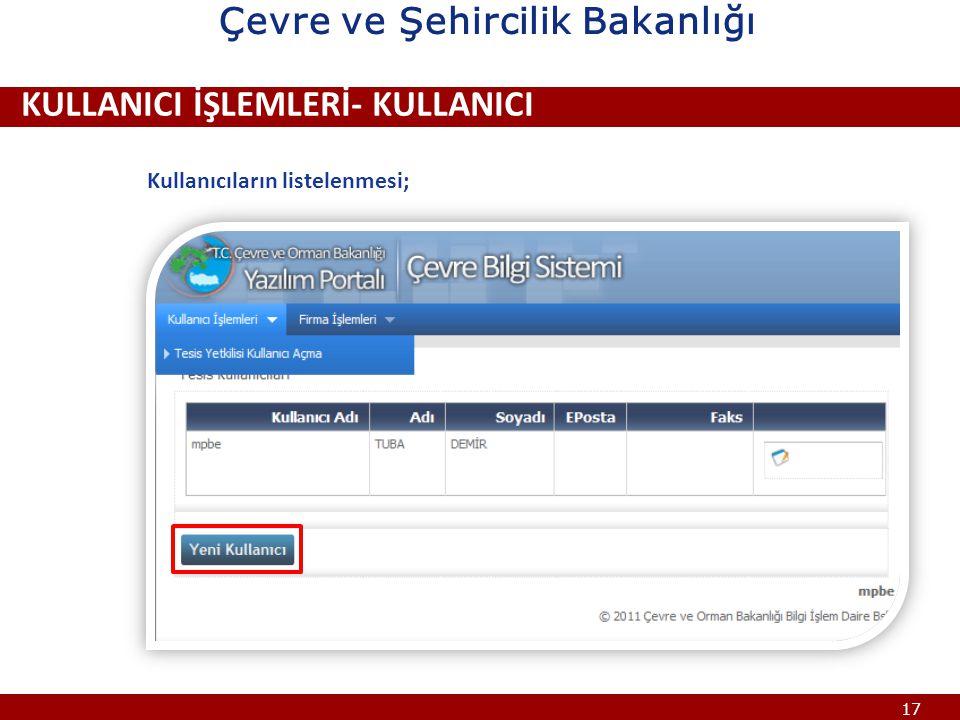 17 ÇEVRE BİLGİ SİSTEMİ KULLANICI İŞLEMLERİ- KULLANICI Kullanıcıların listelenmesi; Çevre ve Şehircilik Bakanlığı