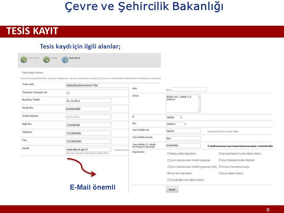 19 ÇEVRE BİLGİ SİSTEMİ www.cevre.cob.gov.tr Çevre ve Şehircilik Bakanlığı
