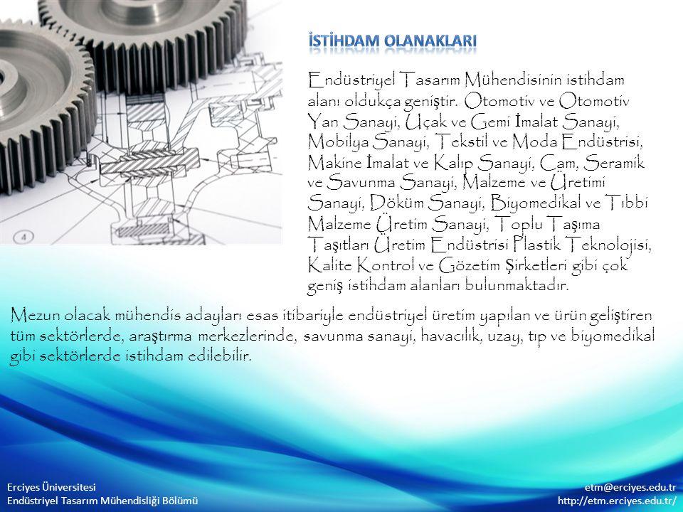 Endüstriyel Tasarım Mühendisinin istihdam alanı oldukça geni ş tir. Otomotiv ve Otomotiv Yan Sanayi, Uçak ve Gemi İ malat Sanayi, Mobilya Sanayi, Teks