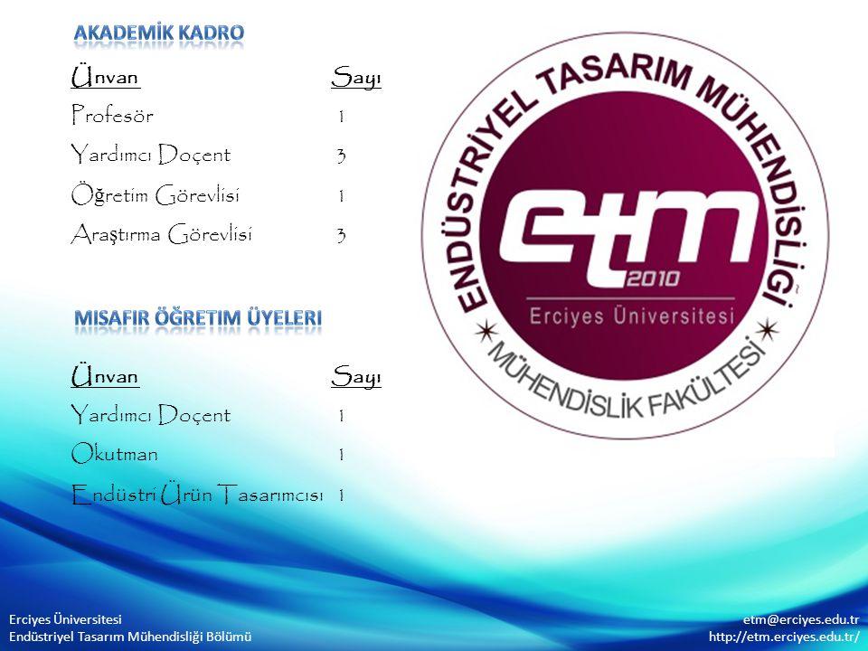 Ünvan Sayı Profesör 1 Yardımcı Doçent 3 Ö ğ retim Görevlisi 1 Ara ş tırma Görevlisi 3 Erciyes Üniversitesi Endüstriyel Tasarım Mühendisliği Bölümü etm