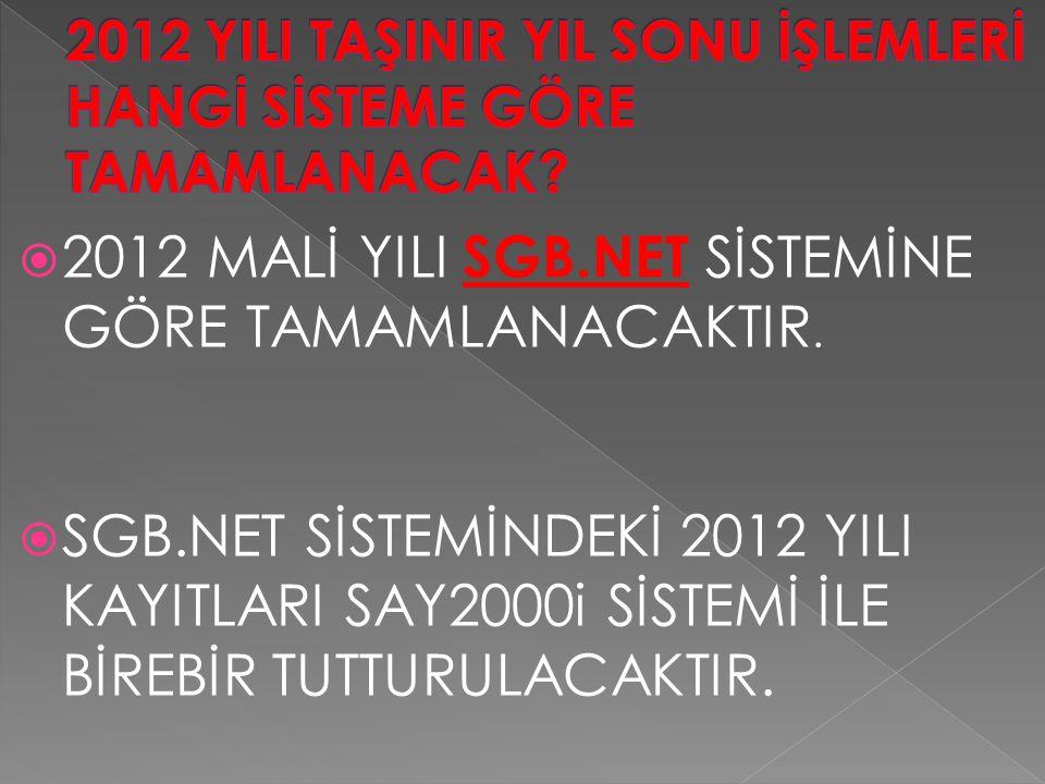  2012 MALİ YILI SGB.NET SİSTEMİNE GÖRE TAMAMLANACAKTIR.  SGB.NET SİSTEMİNDEKİ 2012 YILI KAYITLARI SAY2000i SİSTEMİ İLE BİREBİR TUTTURULACAKTIR.