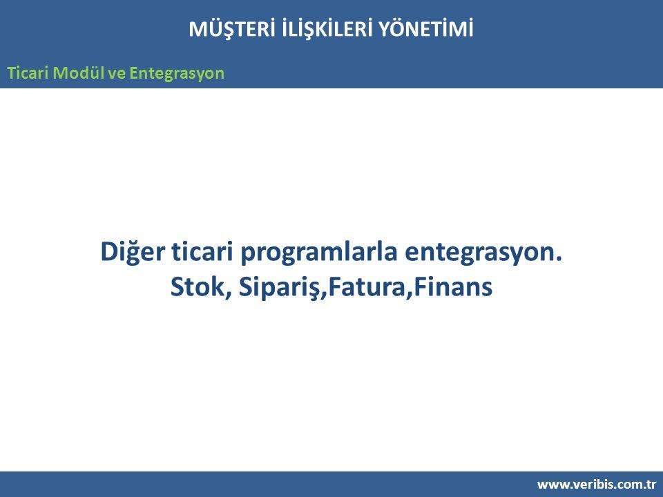 www.veribis.com.tr Ticari Modül ve Entegrasyon Diğer ticari programlarla entegrasyon.